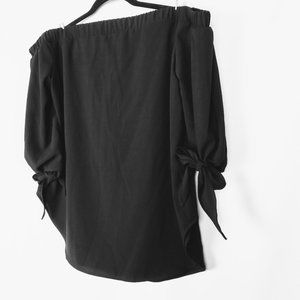 Mossimo Black Off-Shoulder Top with Bows